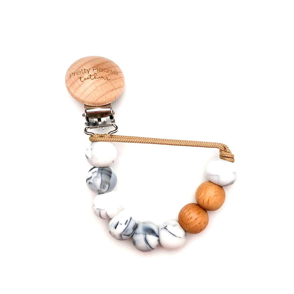 Pretty Please Magnolia Pacifier Clip - Marble