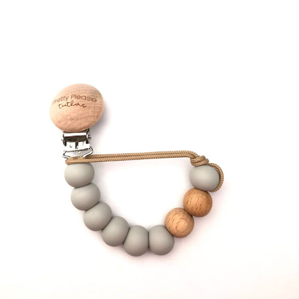 Pretty Please Magnolia Pacifier Clip - Riverstone