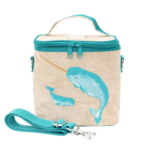 SoYoung Raw Linen Small Cooler Bag - Teal Narwhal