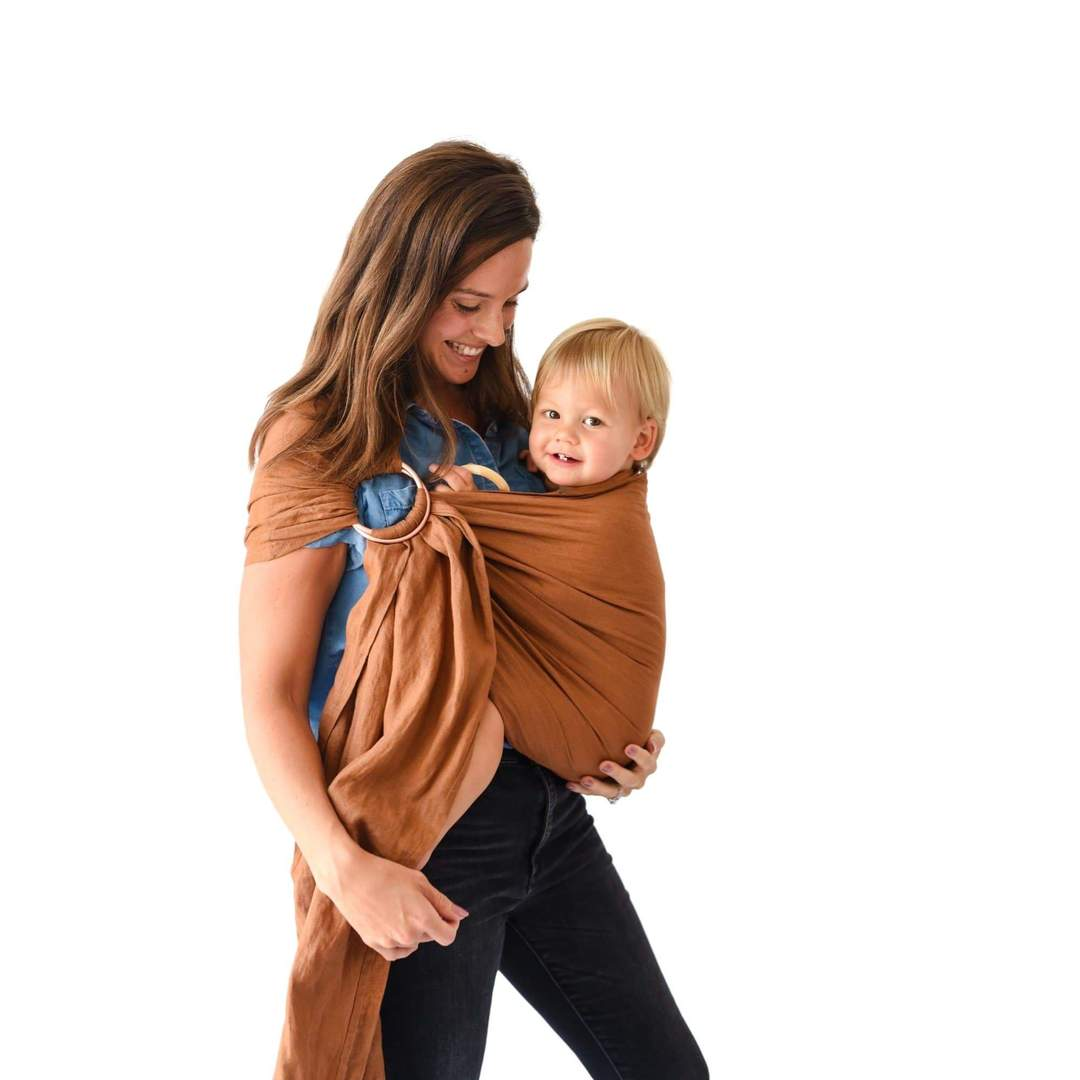 Linen Ring Sling - Cedar with Black Rings