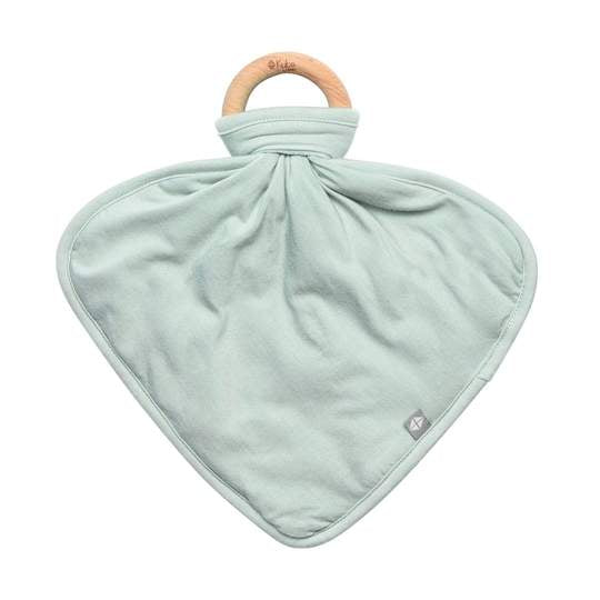 Lovey with Removable Wooden Teething Ring - Sage