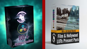 100+ Transitions Pack for DaVinci Resolve & 800+ Film & Hollywood LUTs