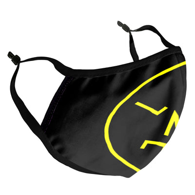 LNOE Circle Logo Neon Yellow Kid's Face Mask-lnoearth