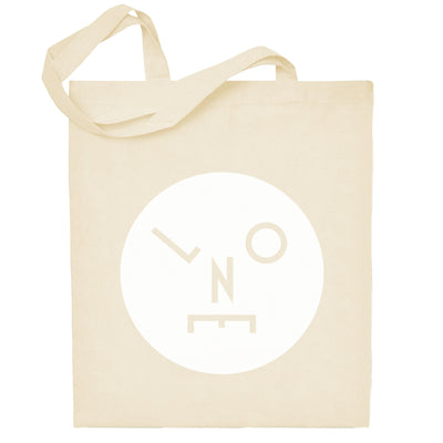 Circle Logo Solid White Natural Cotton Tote Bag-lnoearth