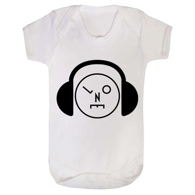Headphones Logo Black Short Sleeve Babygrow-lnoearth