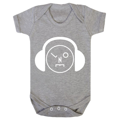 Headphones Logo White Short Sleeve Heather Grey Babygrow-lnoearth
