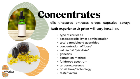 Product differentiators for cannabis concentrates; oil and ingestible options