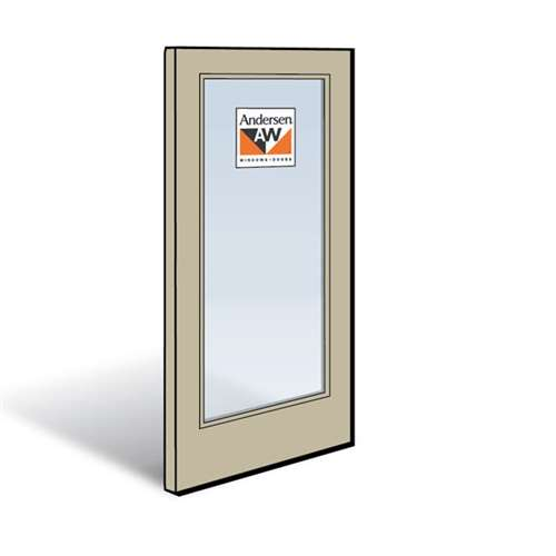 Andersen Active Right Hand Panel Sandtone Exterior with Pine Interior High-Performance Low-E4 Tempered Glass Size 2968