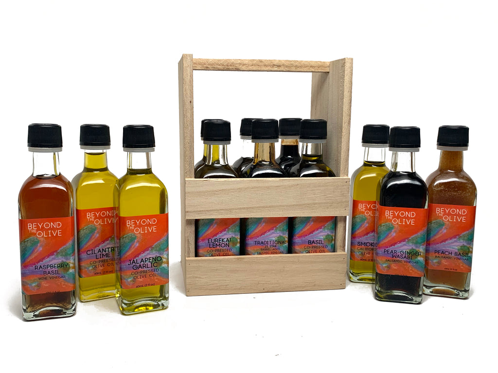 6 pack of 2 oz extra virgin olive oils samplers and balsamic vinegars in a wood crate