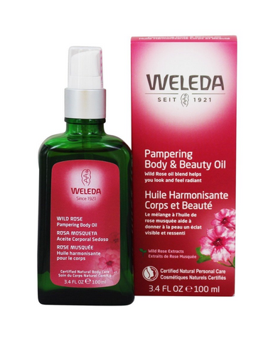 The Weleda Wild Rose Pampering Body and Beauty Oil harmonizes and revitalizes the skin and the senses. Organic Musk Rose Oil and Sweet Almond Oil, high in essential fatty acids, nourishes and softens the skin, improving elasticity.