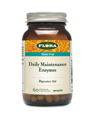 Help promote good digestion and overall health with Flora's Daily Maintenance Enzyme, an all-around digestive enzyme combination. This blend supports the breakdown of nutrients for absorption by replacing natural enzymes that are lost from cooking.