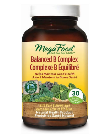 MegaFood Balance B Complex promotes energy and health of the nervous system. Organic spinach provides synergistic co-nutrients and life-enhancing chlorophyll. Balanced B Complex is a balanced ratio of FoodState B complex vitamins in their most bioavailable food form.