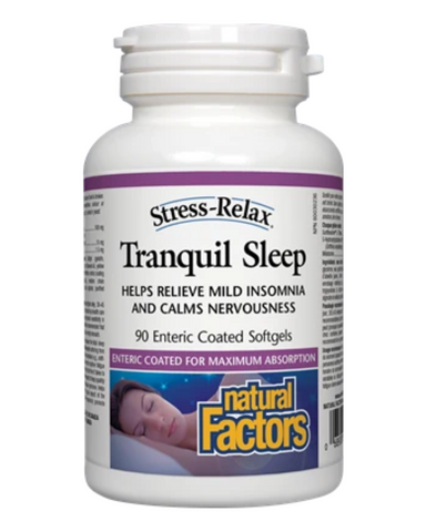 "Stress-Relax Tranquil Sleep helps you fall asleep quickly, sleep soundly through the night, and wake up feeling refreshed, without the potentially serious mental and physical side effects caused by pharmaceutical ""sleeping pills."" Containing Suntheanine L-Theanine, melatonin, and 5-HTP, this natural alternative is completely safe, highly effective, and non-habit forming."