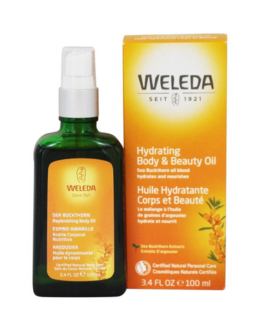 Weleda Hydrating Body and Beauty Oil is beneficial after sun exposure. Rich in unsaturated fatty acids, this oil helps skin look and feel revitalized and resilient. Weleda Hydrating Body and Beauty Oil Moisturizes,  and smooths roughness. This product is certified natural by NATRUE, free from synthetic preservatives, fragrances, colorants or raw materials derived from mineral oils.
