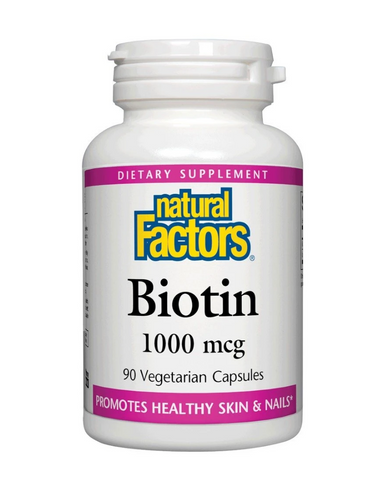 Natural Factors Biotin promotes strong, healthy nails, hair, and skin. Biotin is a B-complex vitamin (B7) that is vital for the metabolism of carbohydrates, fats, and proteins, helping to convert food into energy. It also supports healthy blood sugar regulation. Natural Factors non-GMO biotin is available in 1000 mcg, 5000 and 10 000 mcg capsules.