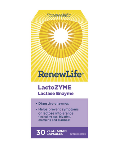 LactoZYME® is a unique plant-based, digestive enzyme mixture that contains special ingredients to digest all three components of dairy products. DAIRY DIGESTIVE ENZYME: Plant-based enzyme helps digest dairy-based foods or beverages that contain lactose, proteins and fats, reducing abdominal pain or cramping, flatulence, belching, bloating and diarrhea.