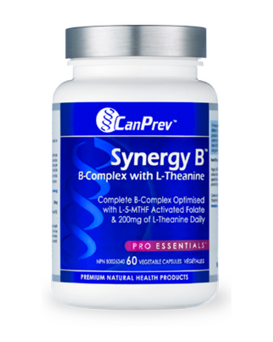 CanPrev's Synergy B is an innovative vitamin B complex that delivers the full spectrum of B vitamins in their preferred forms, plus an impressive 200 mg of L-Theanine daily. L-Theanine is an amino acid found in green tea leaves that temporarily produces mental relaxation without any sedating effects. It's the perfect companion to a B-complex vitamin, enhancing its already stress reducing and mood enhancing properties. In addition, Synergy B contains all natural spirulina, a blue green algae that supplies a
