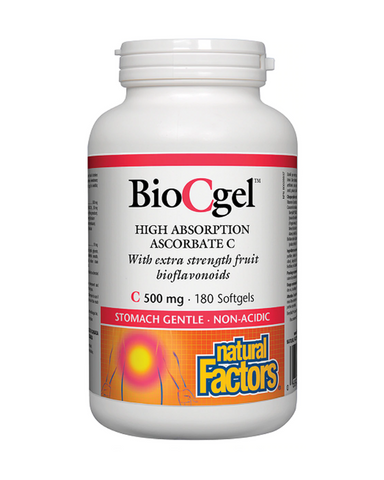 "Natural Factors BioCgel goes beyond ""just vitamin C"" to provide a high-absorption, pH-neutral calcium ascorbate that is easy on the stomach. This preferred form of vitamin C is enhanced with citrus bioflavonoids and the proprietary whole fruit blend BerryRich®, to provide the exceptional protection of natural fruit antioxidants."
