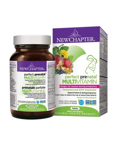 New Chapter Perfect Prenatal is a Whole-Food Complexed Multivitamin + Herbs + Minerals. Now with ginger for nausea during pregnancy.