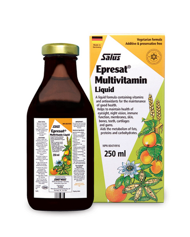 Epresat® liquid formula helps the body to soak up more vitamins, support the immune system, absorb and use calcium, and maintain good health. Its unique liquid formula and delicious taste, sweetened with fruit juices and honey, make it the perfect addition to your healthful routine.