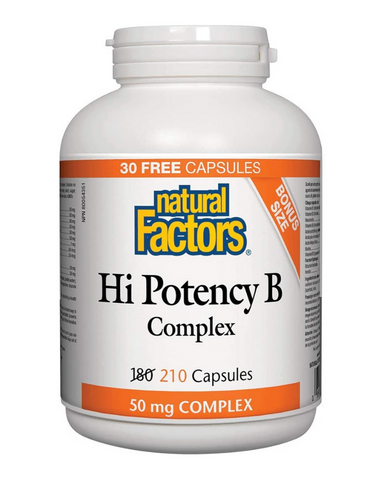 Natural Factors Hi Potency B Complex contains optimally balanced levels of B vitamins for a natural way to energize the body. A factor in the maintenance of good health, B vitamins convert carbohydrates, fats, and proteins to energy and help in the formation of tissues and red blood cells.