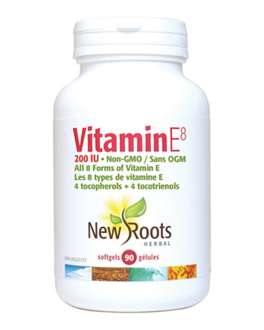 New Roots Herbal's Vitamin E8 contains all eight forms of vitamin E—four tocopherols and four tocotrienols—with squalenes, beta-sitosterols, all non-GMO certified.  Vitamin E is one of the great fat-soluble antioxidants; it is able to go where ordinary water-soluble antioxidants cannot. Vitamin E helps stop oxygen in red blood cells from turning into harmful peroxides. As well, it protects other vitamins from oxidation in the digestive tract.