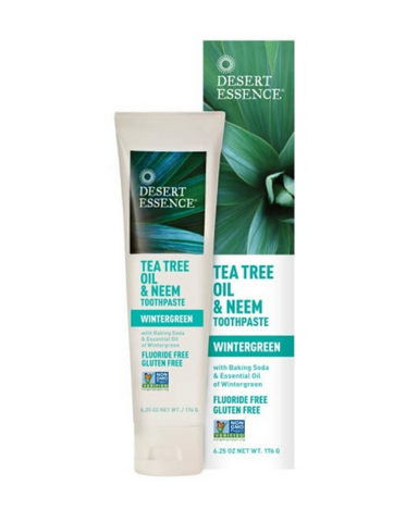 "From India's ""toothbrush tree"", comes neem, an ayurvedic extract known for its dental benefits and an effective ingredient in this formula of baking soda and naturally anti-septic Eco-Harvest® Tea Tree Oil. Flavoured with the pure essential oil of wintergreen for an ultra-fresh clean. Fluoride and gluten free."