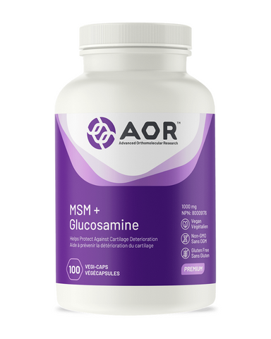 MSM's ability to reduce knee pain and improve physical function in osteoarthritis is due to its anti-inflammatory and connective tissue supporting activities. Glucosamine helps the body to create cushioning fluids and tissues around joints. It also repairs damaged arthritic joints, reduces pain, and builds synovial fluids.