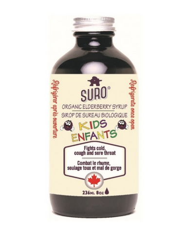 Fight colds, flu, cough and sore throat with SURO® syrup. Physician-formulated, each dose of adult syrup contains over 3,000mg of elderberry, has zero water and is fructose-free.Traditionally used in herbal medicine to help fight colds, SORE throat, cough and fever. Consult a health practitioner if symptoms persist.