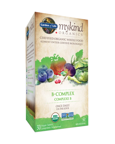 mykind Organics B-Complex is a whole food B-Complex formula that's both Certified USDA Organic and Non-GMO Project Verified—all in a convenient, once-daily tablet. Made from 25 real organic powdered fruits, vegetables and herbs, mykind Organics B-Complex provides 100% DV or more of all eight of the essential B vitamins.