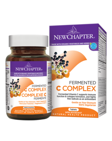 New Chapter Fermented Vitamin C supports immune function and collagen formation and fights free radicals as an antioxidant.