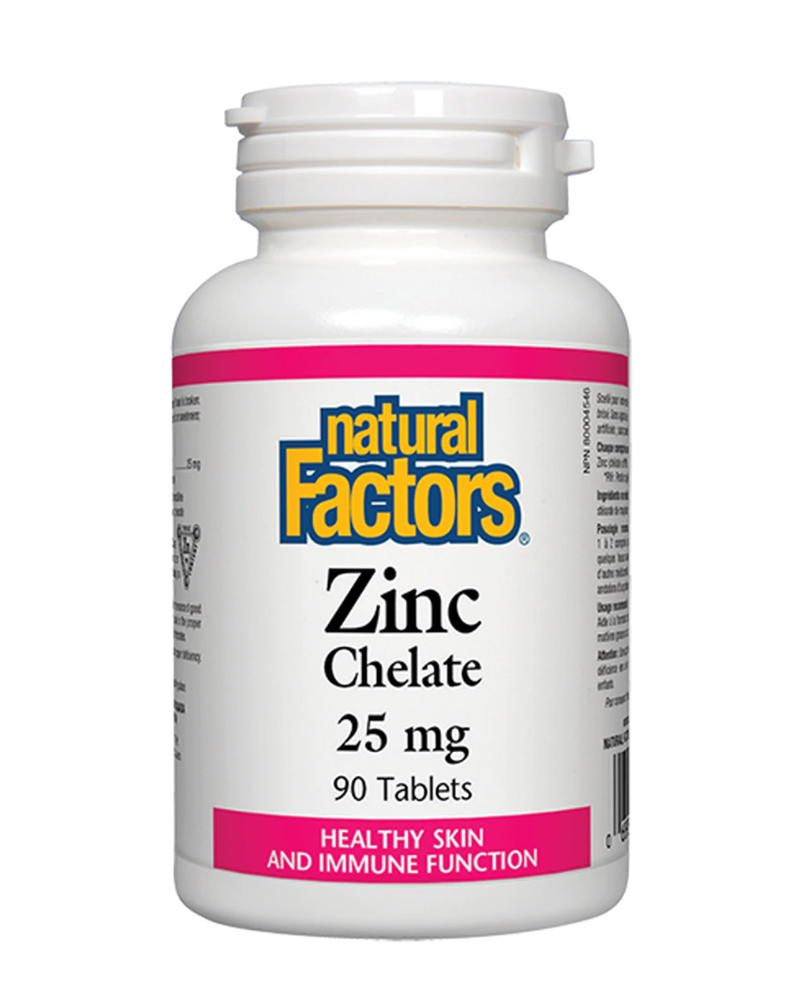 Natural Factors Zinc Chelate is an essential trace mineral and a factor in the maintenance of good health as it supports and protects the immune system and helps the body fight against diseases. Zinc is important for tissue formation and the proper metabolism of fats, proteins, and carbohydrates.
