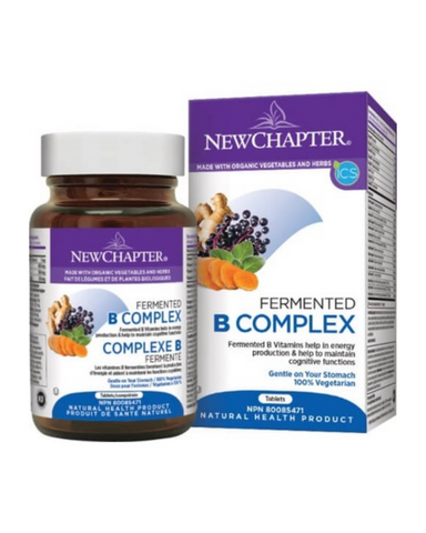 New Chapter's Fermented B Complex Vitamin helps in energy production & metabolism, helps to maintain cognitive functions, and helps in normal immune system function. Fermented B Complex delivers 8 fermented B Vitamins including Folate, Biotin, Riboflavin, Vitamin B6, and Thiamin.