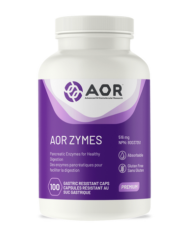 AOR Zymes contains proteases to digest proteins, alpha amylase to digest starches, lipase to digest fats and alpha galactosidase for hard-to-digest polysaccharides found in legumes and vegetables that can cause gas and bloating. They are porcine pancreatic enzymes, meaning they are derived from pigs. Pancreatic enzymes from a mammalian source tend to be more effective than plant-based enzymes since they are similar to the enzymes naturally present in the human body.