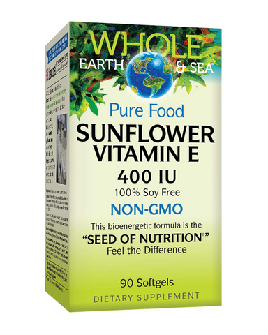 Whole Earth &Sea Pure Food Sunflower Vitamin E contains d-alpha tocopherol from non-GMO sunflower seed oil. It is ideal for anyone looking to avoid soy-based vitamin E supplements. The sunflower oil is identity preserved, meaning its unique qualities are protected from seed to shelf. Vitamin E supports cardiovascular and immune health, and helps prevent premature aging.