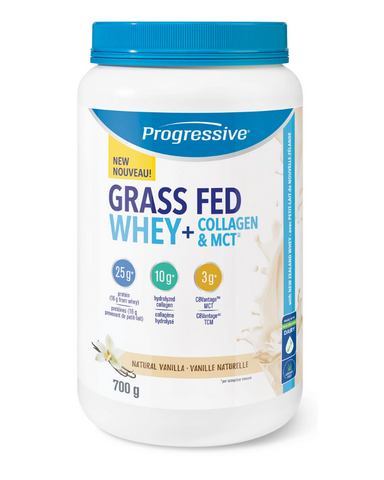 Progressive Grass Fed Whey + Collagen & MCT™ combines several trending, in-demand ingredients into one convenient scoop. This dynamic formula has been specially formulated to support an active body. Each serving provides a powerful nutritious combination of protein, collagen and MCT to fuel the body.