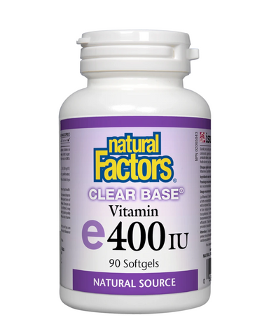 Natural Factors Clear Base Vitamin E 400 IU offers naturally sourced and soy-free vitamin E (d-alpha tocopherol). Vitamin E is a fat-soluble vitamin primarily known for its powerful antioxidant benefits. It helps protect cells from free radical damage and helps in the maintenance of good health.