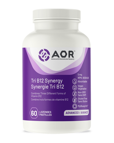 AOR's Tri B12 Synergy is a combination of three independent and active forms of Vitamin B12. Methylcobalamin, Hydroxocobalamin and Adenosylcobalamin are three distinct cobalamin factors, each with their own unique benefits. When taken together, they provide an appropriate dose of bioavailable and active forms of B12 for comprehensive support in replenishing a deficiency