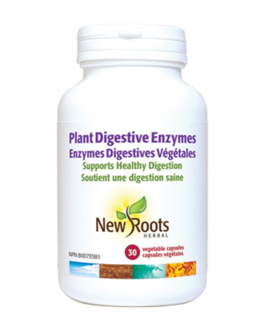 New Roots Herbal's Plant Digestive Enzymes helps resupply your body with natural plant-digestive enzyme, lost from cooked and processed food. These enzymes digest fats, proteins, carbohydrates, sugars, minerals, grains, and fibres.