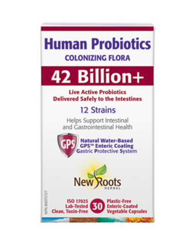 Human Probiotics is formulated with 12 human-sourced probiotic strains, potency-validated with 42 billion colony-forming units (CFUs) per enteric-coated capsule. Isolated from healthy individuals, these therapeutic strains are proven to colonize within the entire gastrointestinal tract