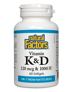 Natural Factors Vitamin K & D combines 2 fat soluble vitamins into one convenient softgel. The form of Vitamin K is K2  which is an advanced, fat-soluble form of vitamin K that serves multiple functions in the body. Vitamin K most important function is aiding bone development by acting as a regulator and director of calcium in the tissues.