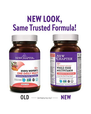 Every Woman's One Daily 55+ Multivitamin offers eight fermented B Vitamins, fermented Vitamins D3, C and E, clinical strength Astaxanthin harvested from organic Algae, and Aloe. This multivitamin is whole-food fermented, Iron-free, and gentle on your stomach.