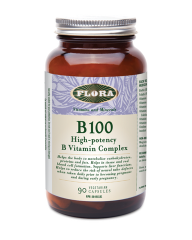 Flora's B 100 Complex provides an extra high potency blend of eight essential B vitamins, helping you top up and maintain healthy levels of vitamin B daily.