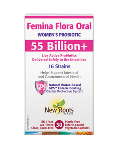 Femina Flora Oral is specifically formulated for women, featuring high-potency probiotics beneficial for intestinal and immune performance, with strains essential for female urinary and vaginal health.