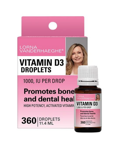 Lorna Vanderhaeghe Vitamin D3 Droplets promotes bone and dental health with 1,000 IU per drop. It is also used for preventing rickets and postmenopausal osteoporosis.