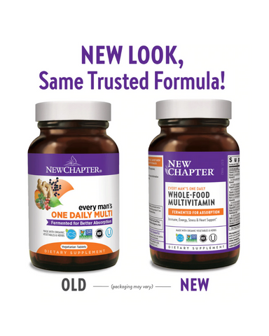 Enhance your overall wellness with immune, energy, stress, and heart support. New Chapter's daily multivitamins for men are made with organic, non-GMO ingredients. We ferment them with whole foods & probiotics, and design each blend so your body can absorb the nutrients. They're even gentle on an empty stomach.