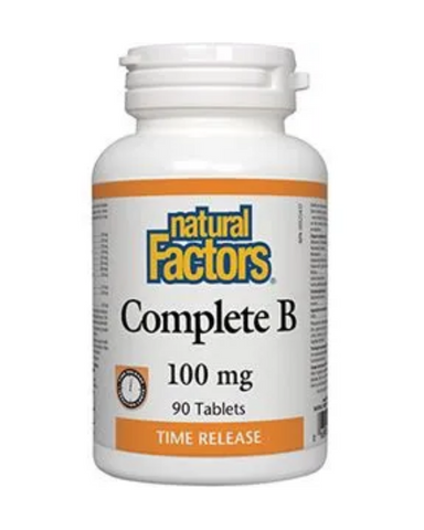 Essential for the maintenance of good health, the conversion of carbohydrates, fats, and proteins to energy, and in tissue and red blood cell formation, Natural Factors Complete B tablets provide a steady release of B vitamins to be absorbed by the body throughout the day.