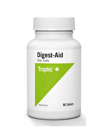 Trophic Digest Aid helps the body soothe irritations of the gastrointestinal tract and aids in the proper absorption and utilization of fat-soluble vitamins A, D, E and K. It prevents indigestion, nausea and flatulence when taken with meals and is effective in promoting healthy gallbladder function. It contains bile extract and three digestive enzymes, lipase, trypsin and bromelain.