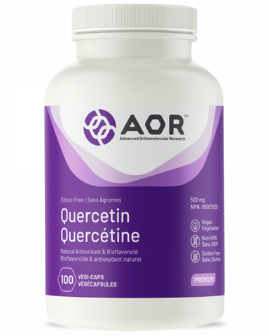 AOR Quercetin is the flavone aglycone (non-sugar-bound) form of the polyphenolic flavonoid rutin. Quercetin is the major bioflavonoid in the human diet and an antioxidant for the maintenance of good health.
