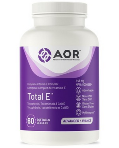 AOR Total E is the first truly balanced, complete E-complex supplement. The E complex includes eight distinct vitamin E molecules: four tocopherols and four tocotrienols. Research shows that each of the different vitamin E molecules have unique functions. Total E contains antioxidants for the maintenance of good health.